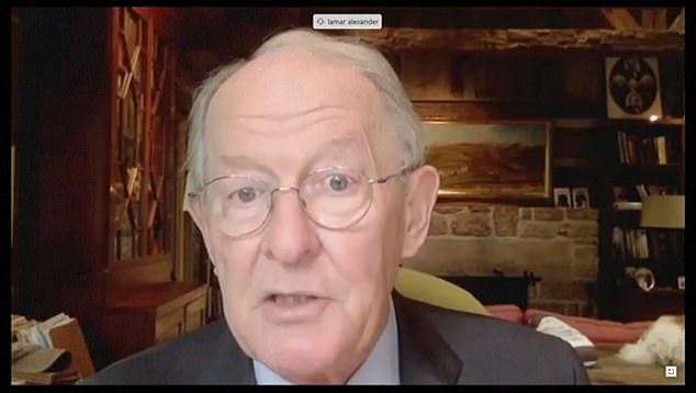Senator Lamar Alexander presided over the hearing from his home in Tennessee after one of his staff tested positive for the coronavirus