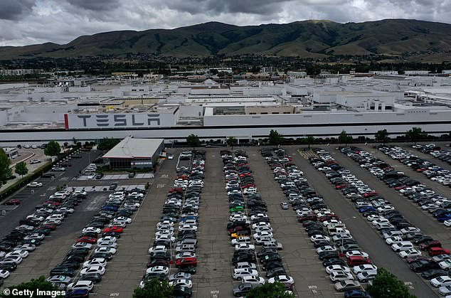 An aerial photograph of the car park outside of the Tesla factory in Fremont, California on Tuesday was full as the factory opened for a second day in defiance of lockdown orders from Alameda County. The county has now said that the plant can resume production as early as next week so long as its safety plans are approved
