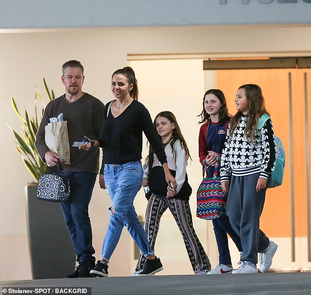 The whole gang: it was revealed last month that Matt, his wife Luciana and their daughters Isabella, 13, Gia, 11 and Stella, nine, resided in a sumptuous carpet in the luxury neighborhood (the family shown without Alexia in Santa Monica in February)