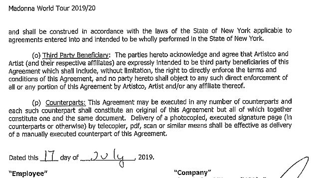 REvil has published extracts from a contract linked to Madonna Madame X's recent tour. The July 2019 contract would be that of a crew member and contains the person's social security information