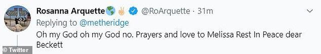 Prayers: Rosanna Arquette expressed shock at the sad news