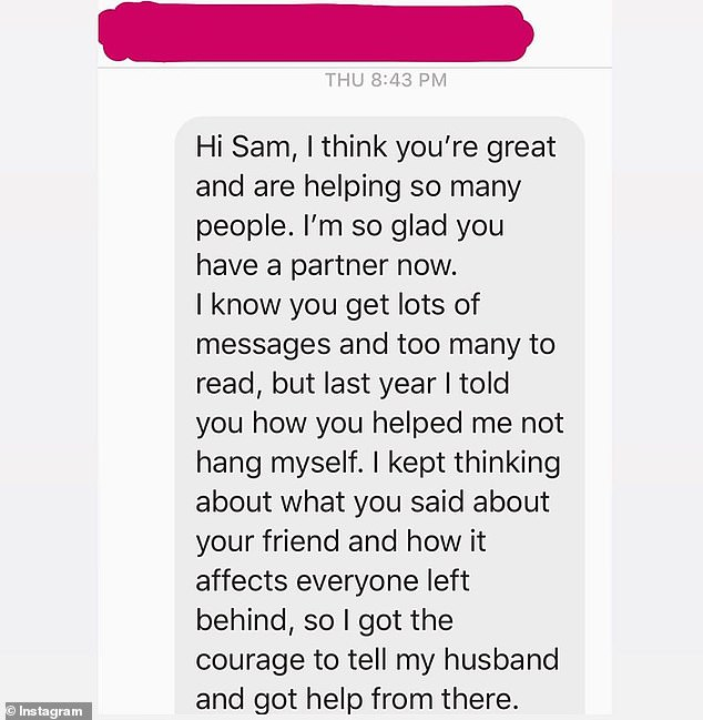 Simple act of kindness: Sam shared a screenshot of a text he received from the woman, who wanted to thank him for being a sympathetic ear when needed.