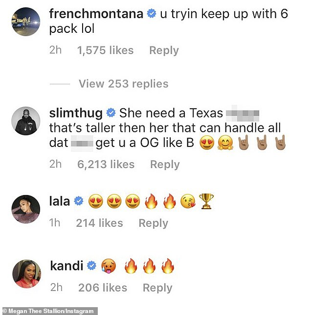 Fire! Megan's seductive backyard dance draws approval comments from her celebrity friends, Montana France, Kandi Burruss, La La Anthony, and Slim Thug