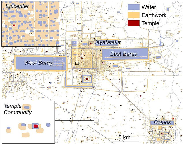 Pictured is a mocked up map of Angkor. The insets depict the regular grid of the epicenter (top left) and a temple community (bottom left) at the same scale. The move towards epicentres and away from localised temple-based communities may have contributed to the demise of Khmer civilisation