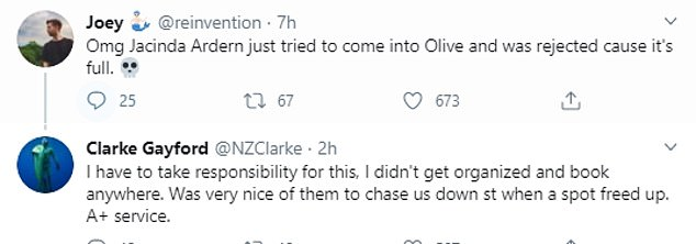 The couple attempted to dine at Olive, in Wellington, on Saturday morning but were turned away. They were eventually offered a table after a spot freed up