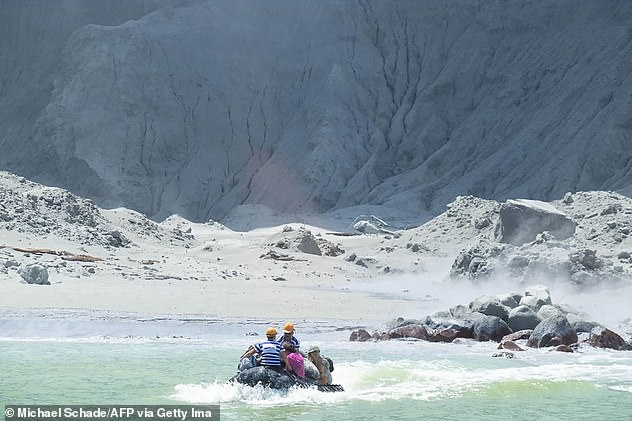 A White Island tour operator rescuing people from the island minutes after it erupted