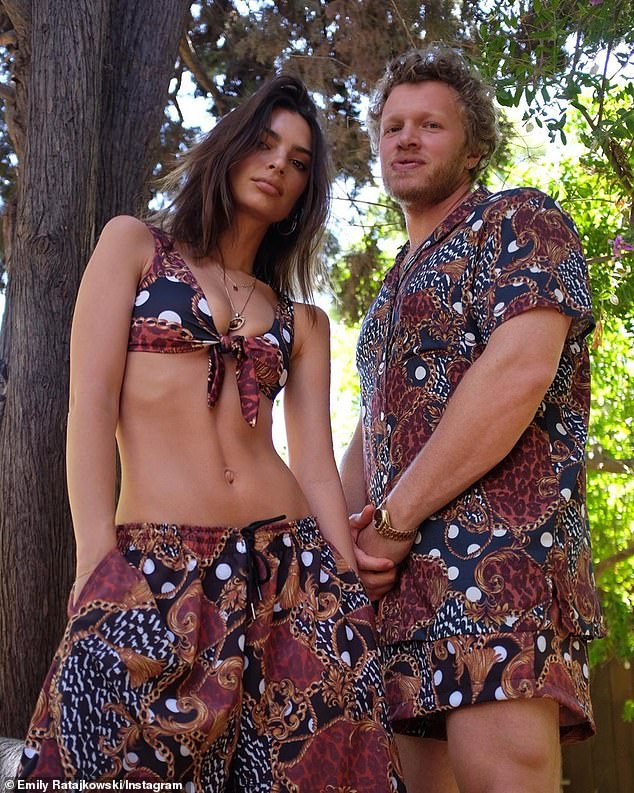 Double trouble: Emily Ratajkowski and husband Sebastian Bear-McClard matched in outfits from her Inamorata brand