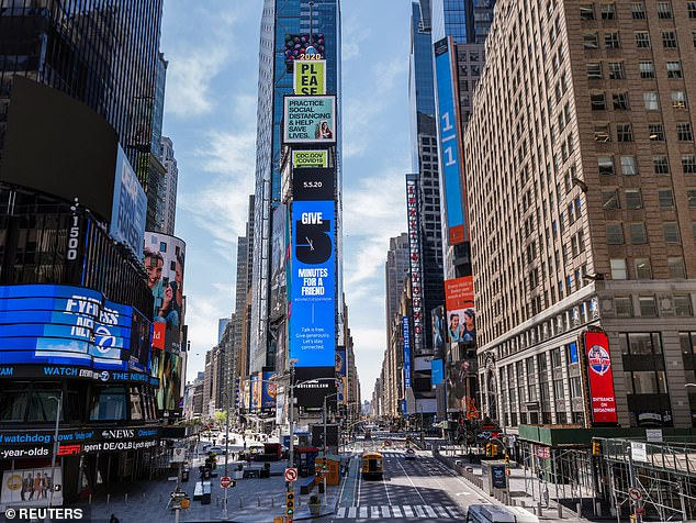 New York City's Times Square has remained largely deserted since Cuomo issued the 'New York on Pause' order