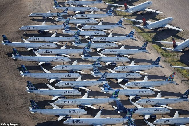 Throughout April, JetBlue has sent more than 80 airliners to the desert and placed them in storage