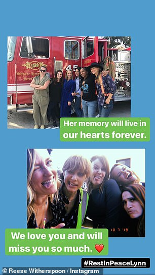Outpouring of love: Reese shared yet more memories of Lynn for the benefit of her fans