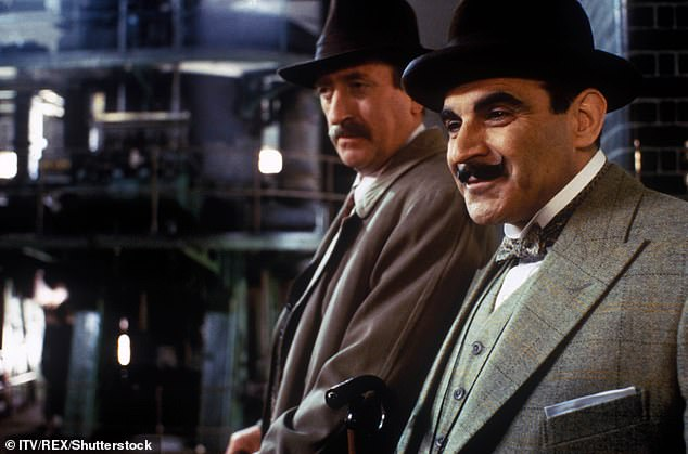 Lucy Moffatt, a British translator living in Norway, told the Observer she found an early English magazine translation of Stein Riverton's story Jernvognen (The Iron Chariot), which uses the same plot device as Christie. Pictured: David Suchet as Hercule Poirot and Philip Jackson as Chief Inspector James Japp investigate the murder of Roger Ackroyd in ITV's adaptation of Poirot