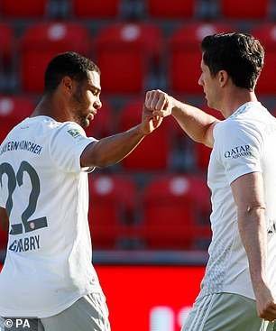 Lewandowski kept a cool head and merely fist-bumped Serge Gnabry in celebration