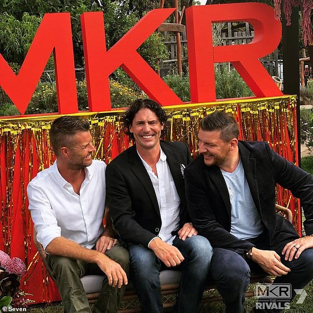 Bad luck: Back in January, a network insider told Woman's Day that after MKR's poor performance in the ratings, Seven executives are 'pushing' to cancel it. Pictured (left to right): former MKR judge Pete Evans, and judges Colin Fassnidge and Manu Feildel