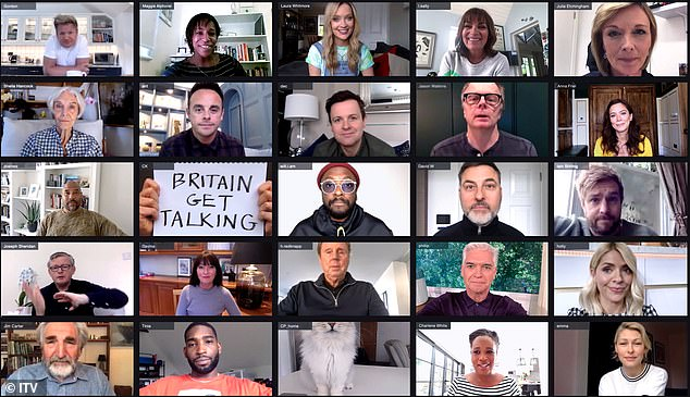 Help with loan: a host of famous faces, including will.i.am, Ant and Dec and Holly Willoughby, appear in a new mental health awareness campaign