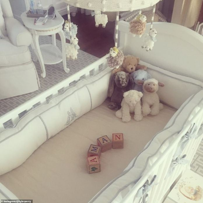 There might even be a ready-made nursery for Archie, 1, while Tyler's Instagram account in January 2015 sees a white bed complete with a musical mobile, a comfortable chair and a small dressing table, and a geomtric rug in a white - washed nursery - originally designed for the son of actor Aman