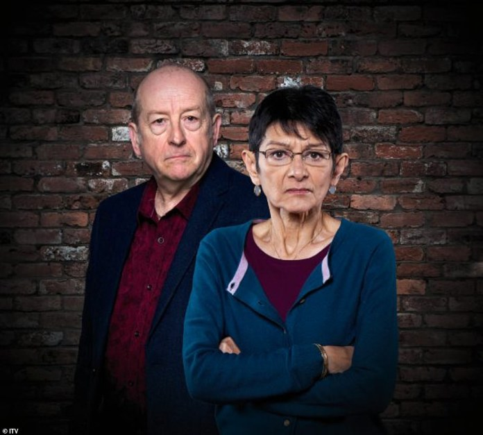 Filming: Sources said the bosses had put in place a plan for the cast to come back next month with the use of smart camera angles to ensure the stars adhere to social distancing (Ian Bartholomew and Shelley King on the picture)