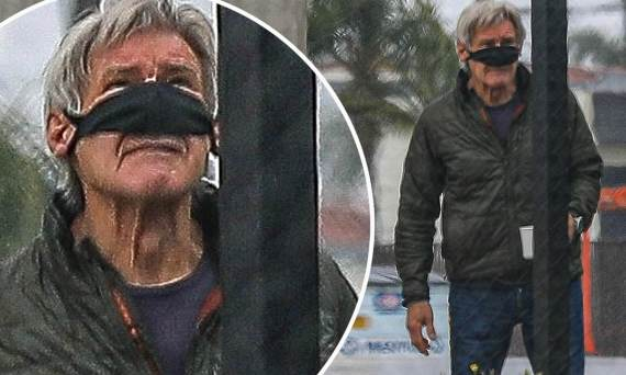 Harrison Ford adjusts his face mask to drink a cup of coffee at Hawthorne  Airport | Daily Mail Online