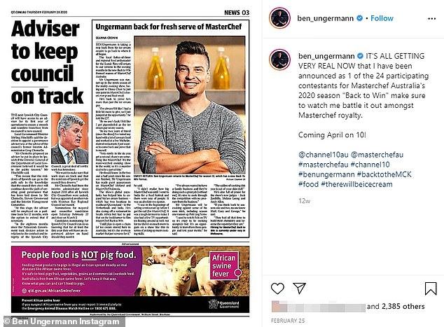 Ungerman hit social media two days after he allegedly sexually assaulted a teenage girl in Melbourne. He appeared confident of remaining on the hit program