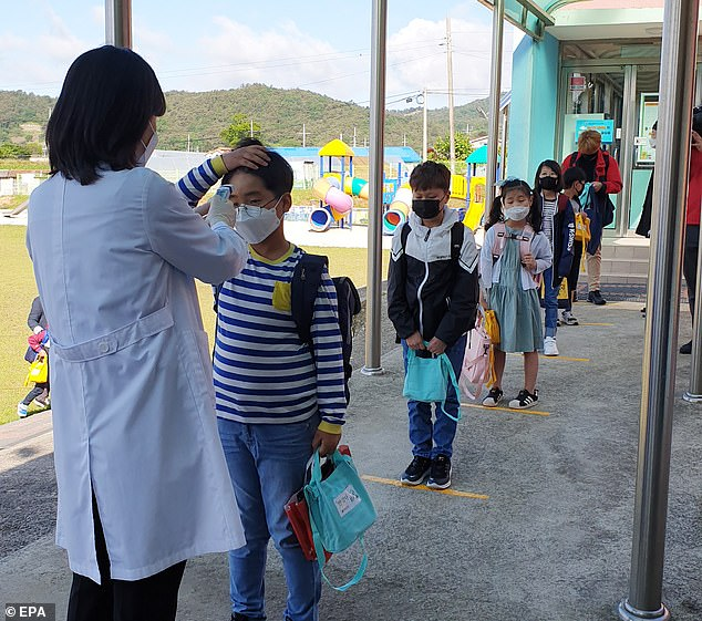 Pupils have their temperatures checked at an elementary school in Muan, South Jeolla, South Korea, 20 May 2020