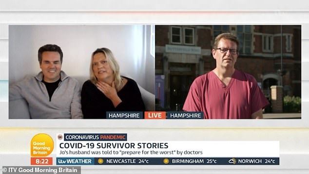 Reassuring: Piers, 55, spoke to Kate after hearing a lady named Jo Tillbrook (left) who survived the coronavirus after a long hospital stay