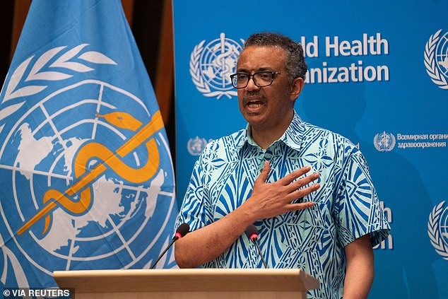 The head of the United Nations health agency, Tedros Adhanom Ghebreyesus, said on Tuesday that there were 106,000 cases reported to WHO - the most in a single day since the epidemic began '' in December (photo Tuesday at headquarters in Geneva)