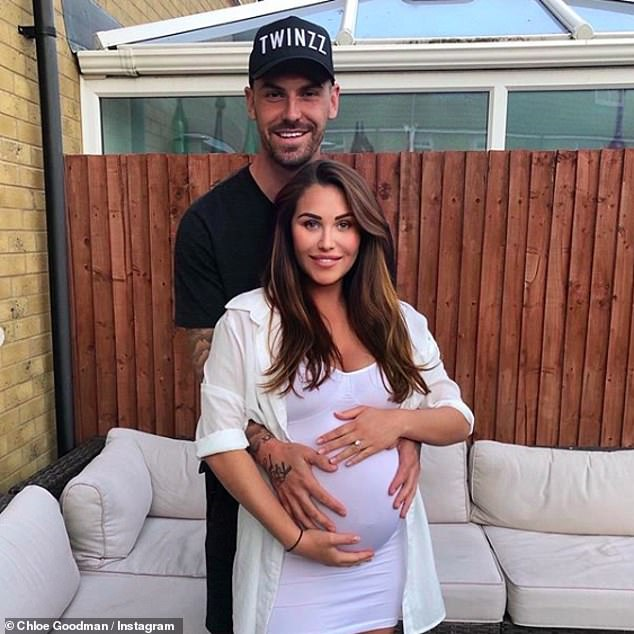 Proud new parents:Chloe announced the birth of her daughter, Isla Elizabeth, in May this year with her QPR football player fiancé Grant Hall