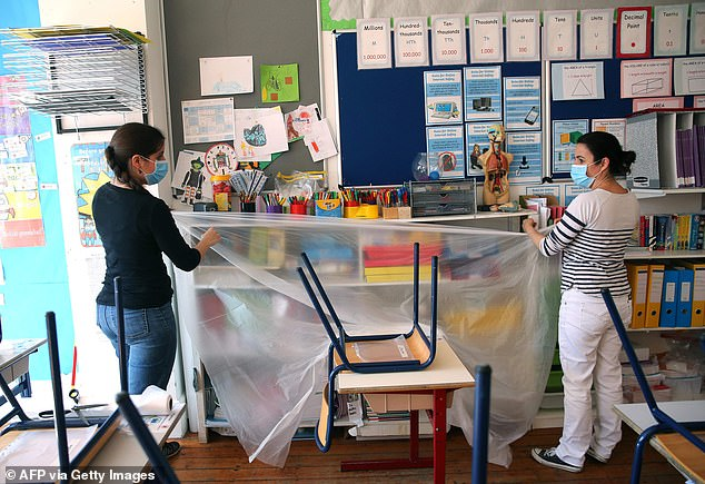 Yet Britain's children are being left behind. Robert Halfon, chairman of the education committee, is right to warn of a 'potential cascade of mounting social injustice that could last a decade'. Pictured: Staff La Petite Ecole Bilingue in North London