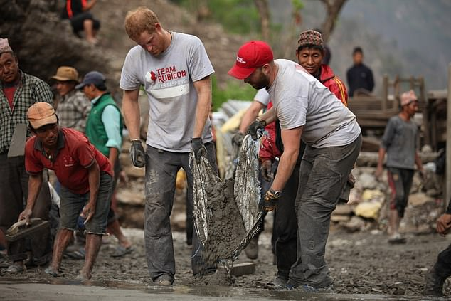 Prince Harry helped volunteers at Team Rubicon following his official tour in Nepal in 2016