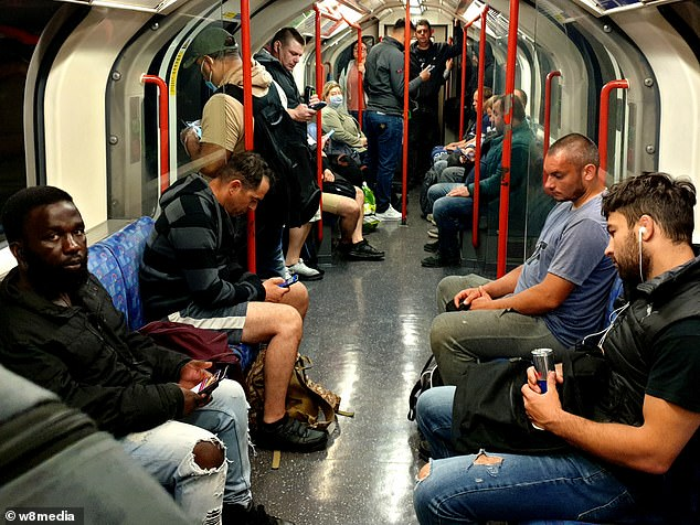 Commuters were packed onto the Central Line today on their way back to the workplace