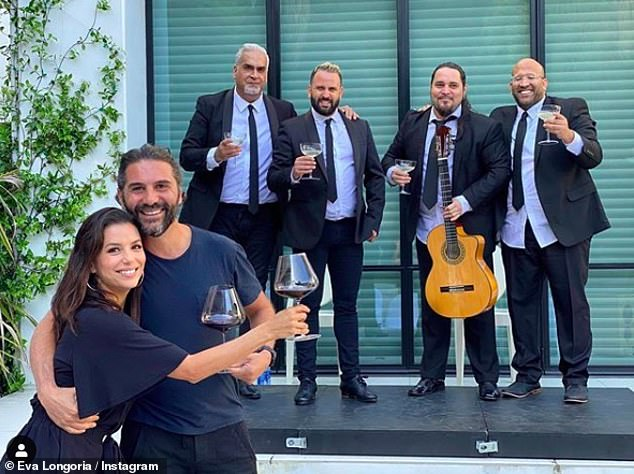 Lovebirds: Eva Longoria, 45, and her husband celebrated their four-year anniversary with a socially distanced
