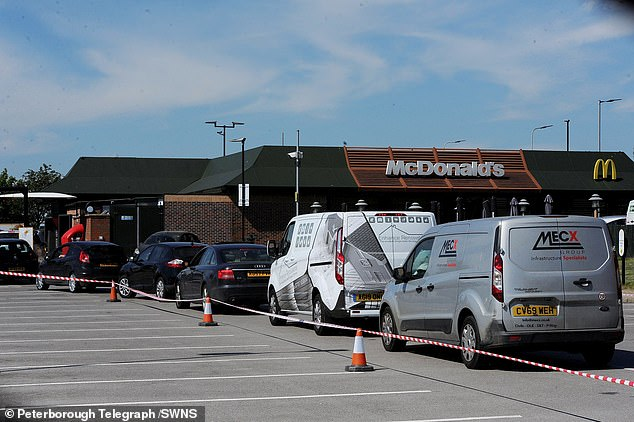 In Peterborough vehicles remained stationary in the car park as the McDonald's employees battled to deal with the high demand of drive-thru customers