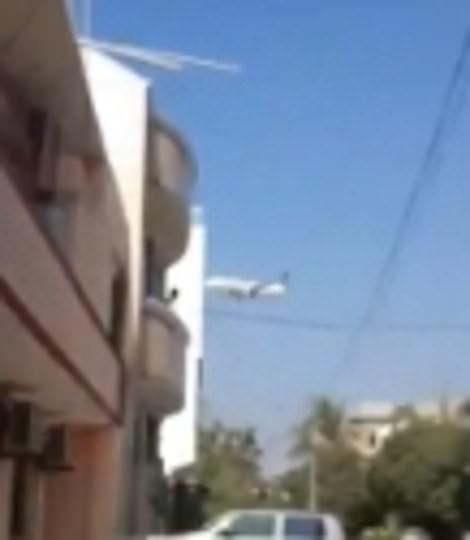 A low-flying plane believed to be the Airbbus was captured low over houses