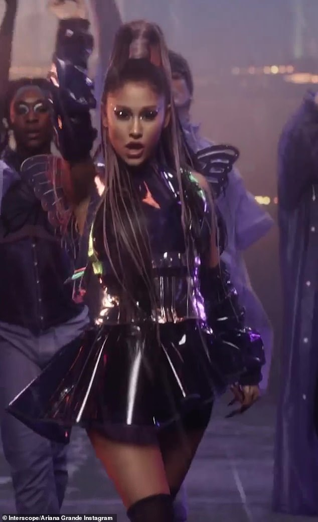 Cyber chic: Lady Gaga and Ariana Grande dress in PVC for their new Rain On Me video, released on Friday