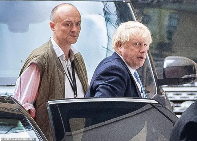 Dominic Cummings was fighting for his political life last night as pressure mounted on Boris Johnson to sack his chief adviser for flouting lockdown rules (duo pictured in September)