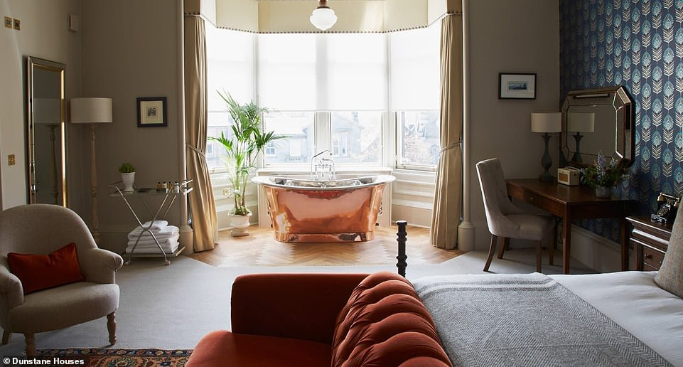 Sheer indulgence: Dunstane Houses, located outside Edinburgh city centre, has 15 rooms with walk-in showers and copper baths