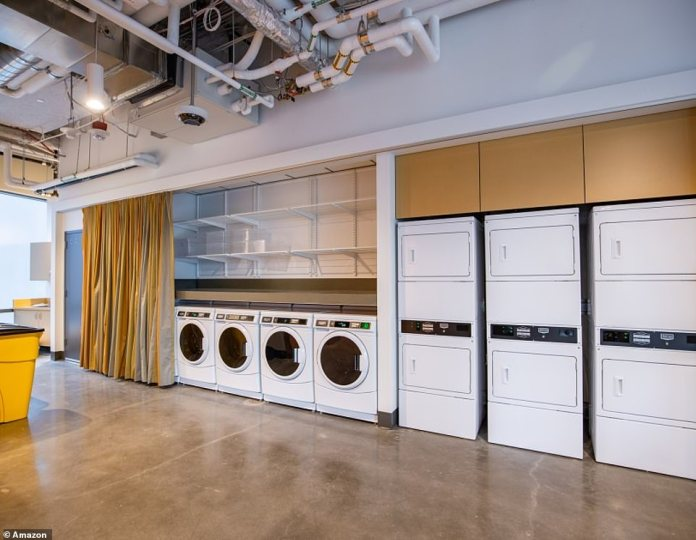 The shelter also has communal laundry machines and dryers for residents to use