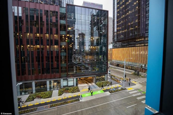 The family shelter and the Amazon offices feature acoustical separation and have their own entrances. Plazas and other public spaces are for use by both families and Amazon workers