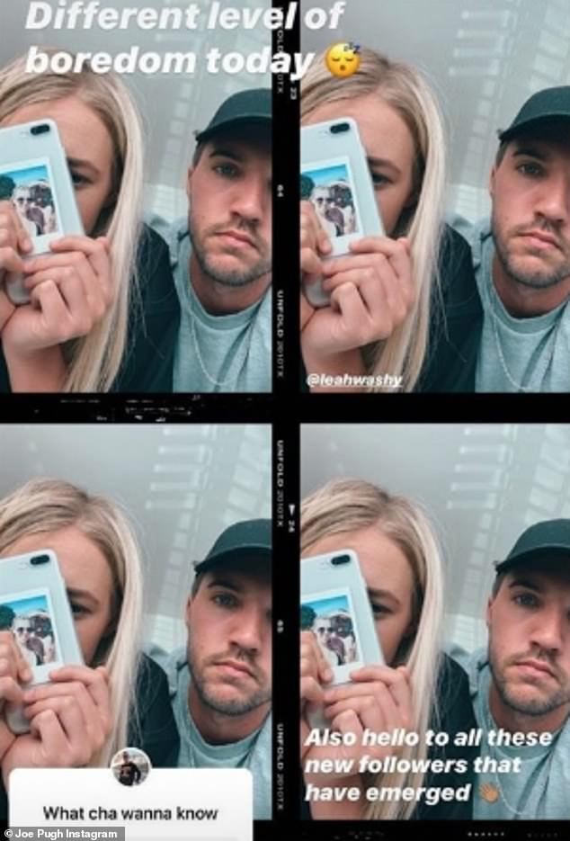 Joe then posted an array of selfies taken by the couple, admitting: 'Different level of boredom today!'