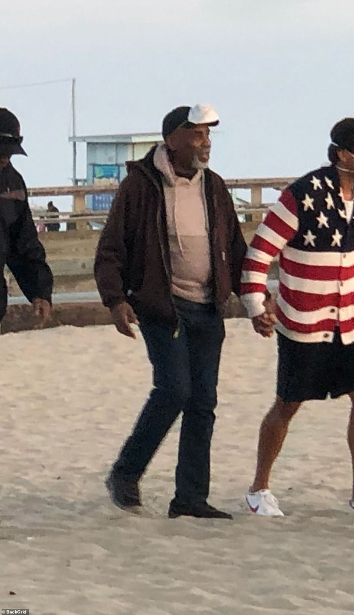 Gaspard's father Ben Gaspard is also seen being led to the vigil organized at Venice Beach by a bereaved colleague