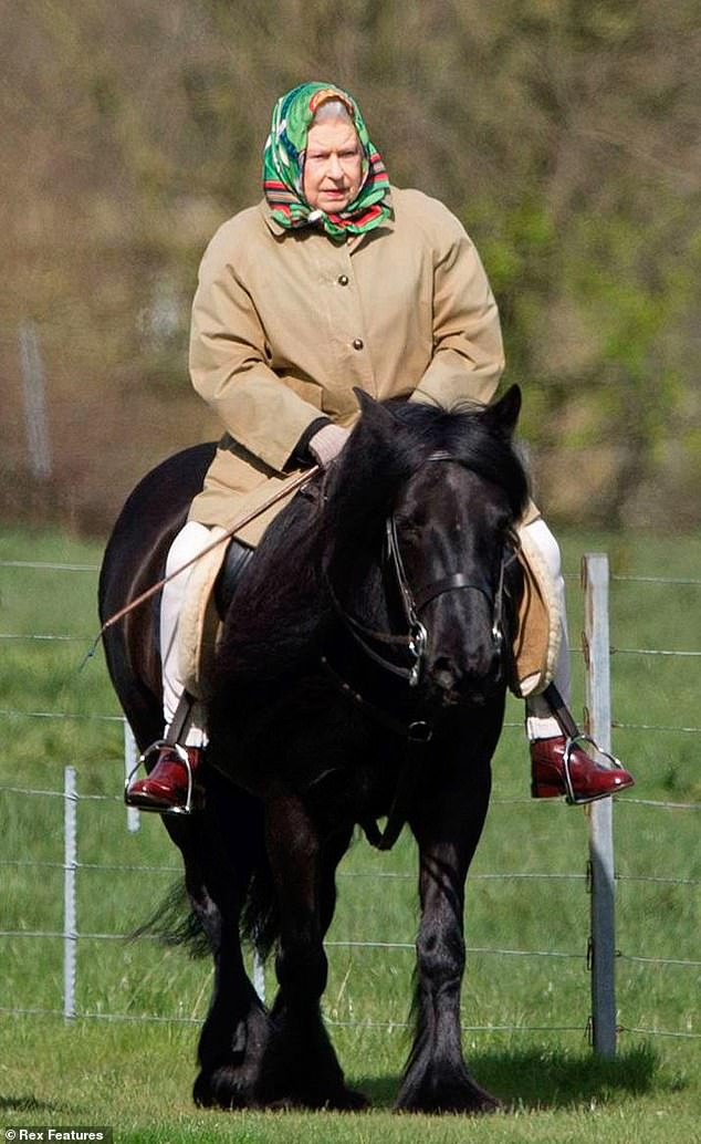Queen Elizabeth II horseriding a Fell pony, her favourite breed for gentle riding