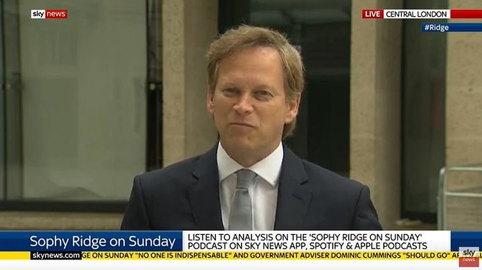 But Transportation Secretary Grant Shapps tried to defend Mr. Cummings, telling Ridge that he was