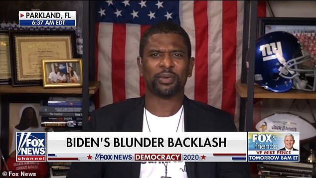 'The mask is off,' Brewer (pictured) told Fox and Friends Weekend on Sunday. 'America can see the real Joe Biden, hopefully all of my African-American brothers and sisters'