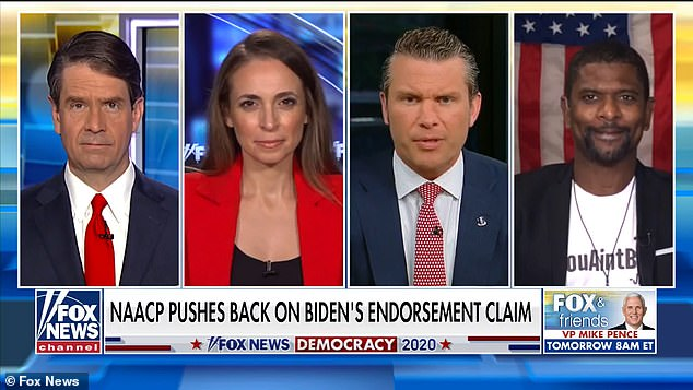 Former NFL star Jack Brewer (far right) has slammed Joe Biden for his 'ain't black' comment about African-Americans who may be unsure about whether to support him or President Donald Trump