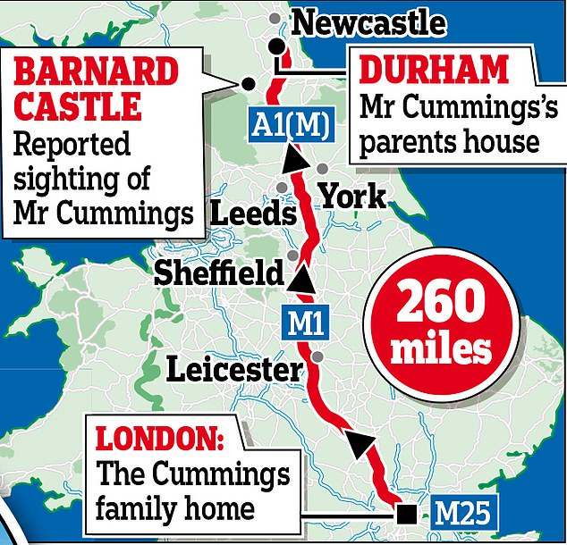 London-to-Durham: The 260-mile journey that Cummings made to reach the home of his parents in Durham