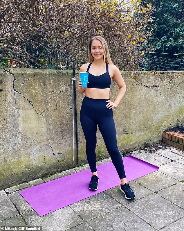 Mikaela (pictured at her apartment in London) said she loves to set herself a fitness challenge, and fancied a run in order to get rid of some of the pent-up energy she had in her hotel room