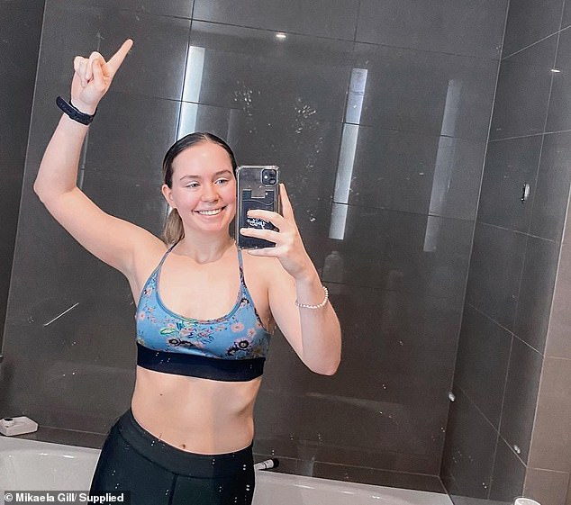 Mikaela Gill arrived at the Pan Pacific hotel in Melbourne on May 15, where she has been isolating for the past 10 days until two weeks has elapsed and she can go home to her family (Mikaela pictured in quarantine)