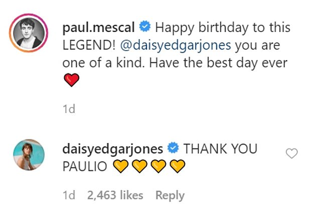 Post: Along with the photos, Paul wrote: 'Happy birthday to this LEGEND! @daisyedgarjones you are one of a kind. Have the best day of your life ¿¿'