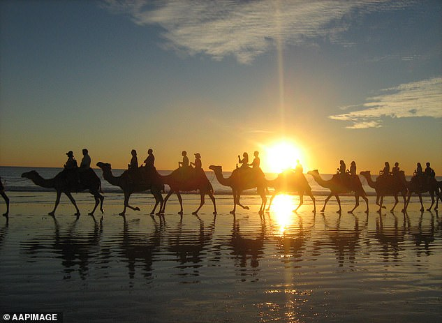 Pictured: Cable Beach, Broome in The Kimberley region of WA. The Kimberley has been declared a federal biosecurity area to protect remote Aboriginal communities and parts of it will remain closed while other internal state travel restrictions are eased ahead of June 1