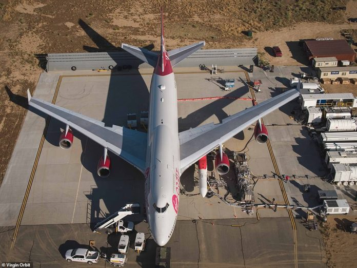 An aerial photo of Cosmic Girl - the Boeing 747-400 from which the rocket was launched