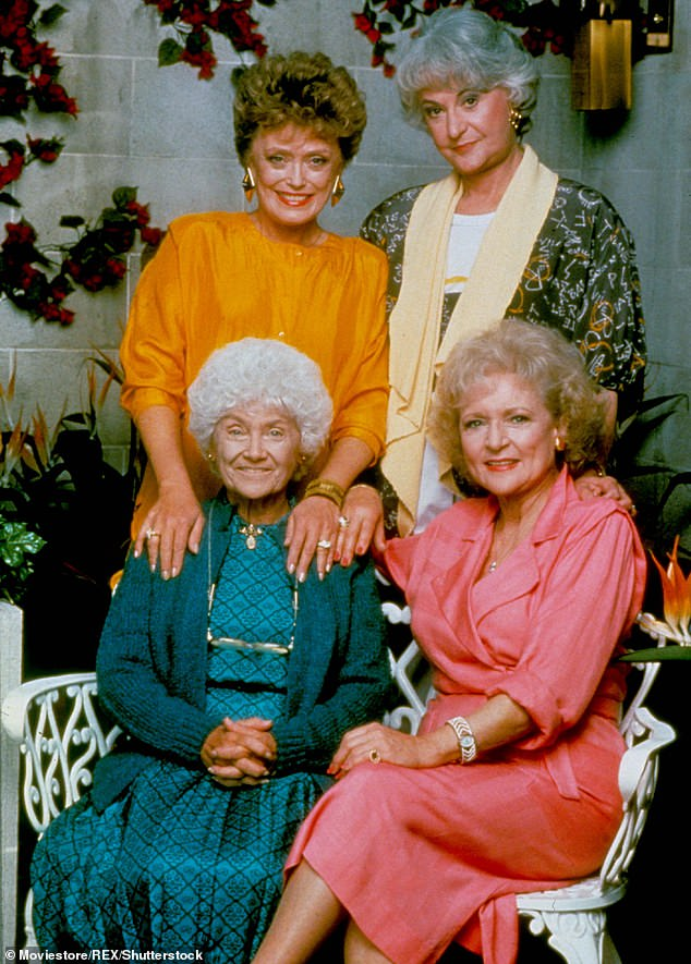 Legend:However Betty is most famous for starring on The Golden Girls from 1985 to 1992 with Rue McClanahan (top left), Bea Arthur (top right) and Estelle Getty (bottom left)